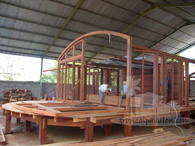Bali prefab knock down house doors under construction